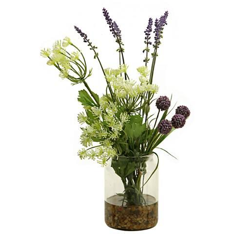 "Cream Queen Anne's Lace Lavender Globe Flower 16""H Faux Flowers"
