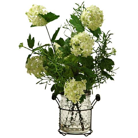 "Cream and Green Snowball Branches 16""H Faux Flowers"