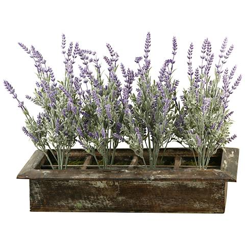 """Lavender 21"""" Wide Faux Flowers in Wooden Planter"""