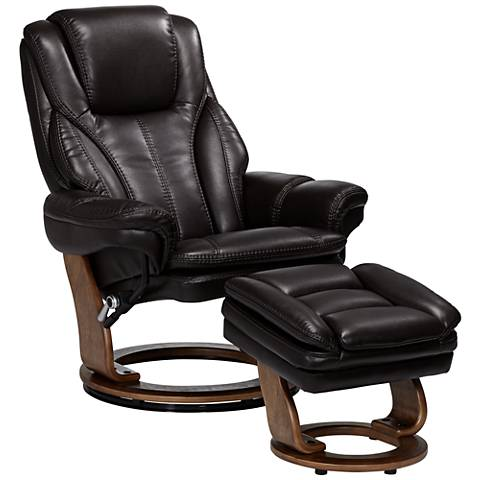 Augusta Java Brown Faux Leather Recliner Chair With Ottoman