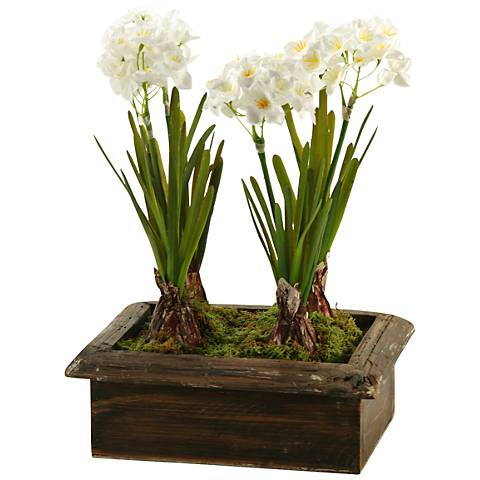 """Paperwhites 15 1/2""""H Faux Flowers in Wooden Planter"""