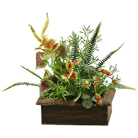 "Green and Orange Wild Asparagus and Greenery 19""W Faux Plant"