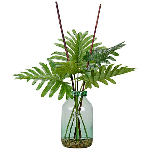 """Peony Foliage and Deer Fern 15"""" Wide Faux Plant"""