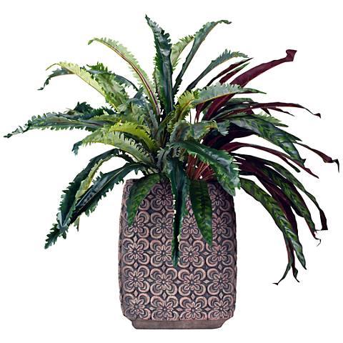 "Nestle Fern and Peacock Plant 32"" High Faux Plant"
