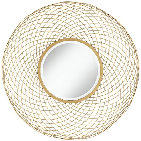 """Janelle Gold 40 1/2"""" Round Metal Weave Wall Mirror"""
