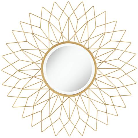 "Noelle Gold 38 1/2"" Round Oversize Metal Wall Mirror"