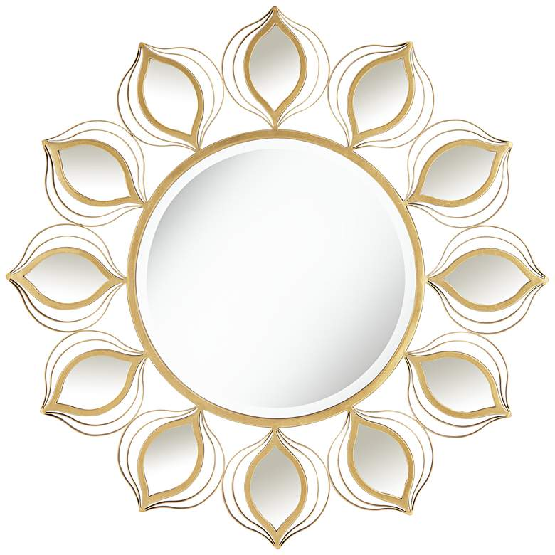 """Florin Gold 37"""" Round Peacock Feather Wall Mirror"""