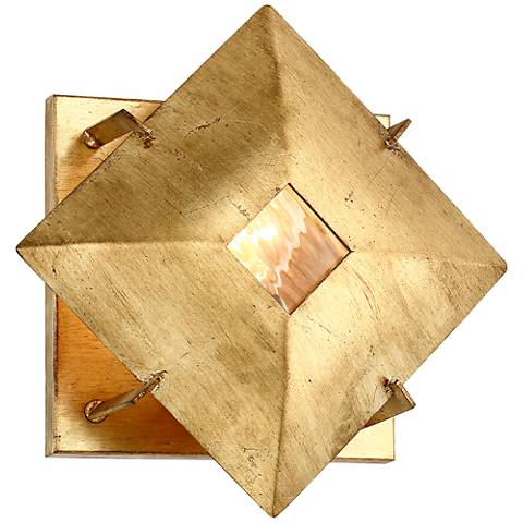 """Possini Euro Squared Up 12"""" High Gold Leaf Wall Sconce"""
