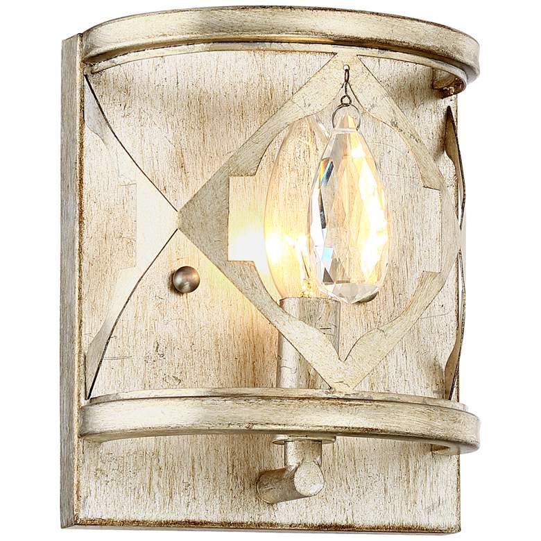 "Droplet 7"" High Silver Leaf Laser-Cut Wall Sconce"
