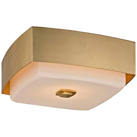 """Allure 13"""" Wide Gold Leaf Square Ceiling Light"""
