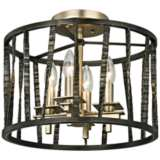 "Bastille 14""W Pompeii Silver and Silver Leaf Ceiling Light"