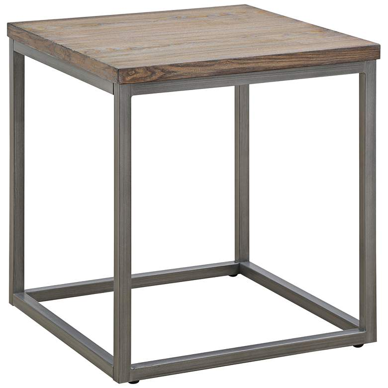 "Klaussner Southport 22"" Square Driftwood Gray End Table"