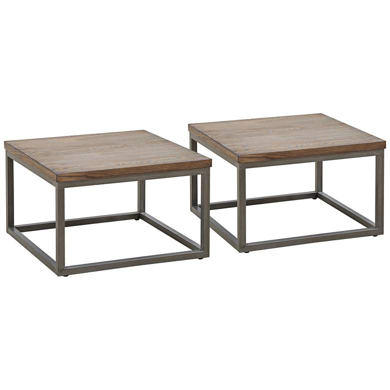 "Southport 24"" Wide Driftwood Gray Accent Tables Set of 2"