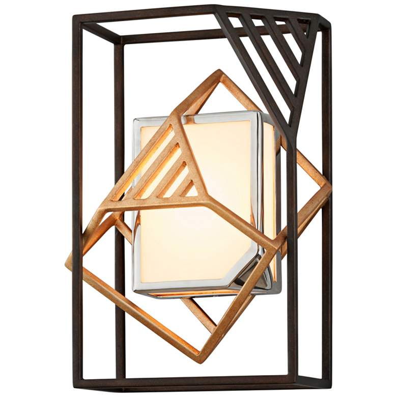 "Cubist 13 1/2"" High Bronze and Gold Leaf LED Wall Sconce"
