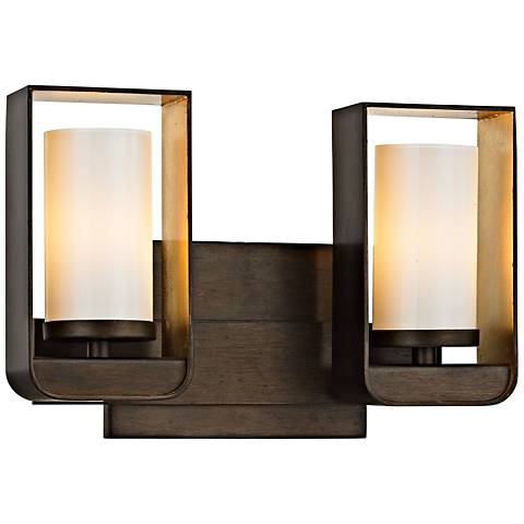 "Escape 7 3/4""H Bronze and Gold Leaf 2-Light LED Wall Sconce"