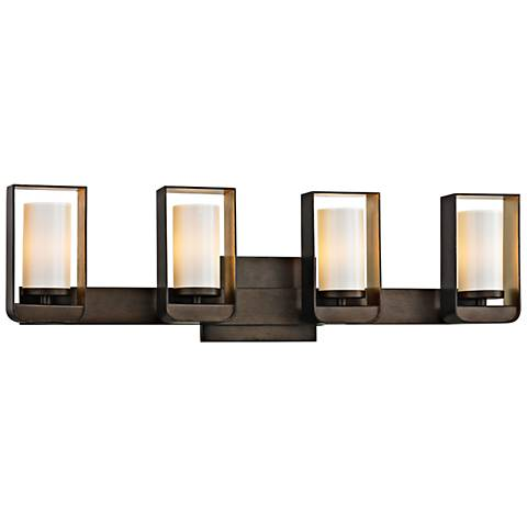 "Escape 27"" Wide Bronze and Gold Leaf 4-Light LED Bath Light"