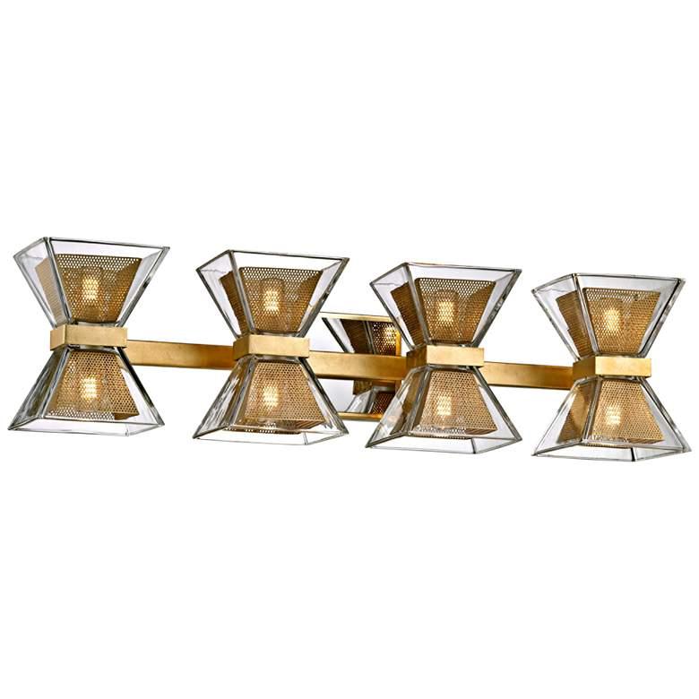 """Expression 27 1/2"""" Wide Gold Leaf 8-Light LED Bath Light"""
