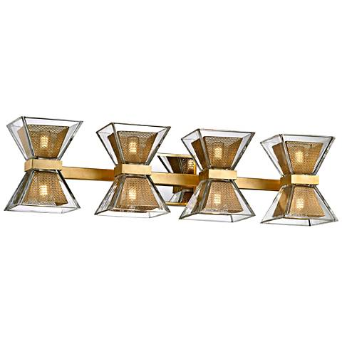 "Expression 27 1/2"" Wide Gold Leaf 8-Light LED Bath Light"