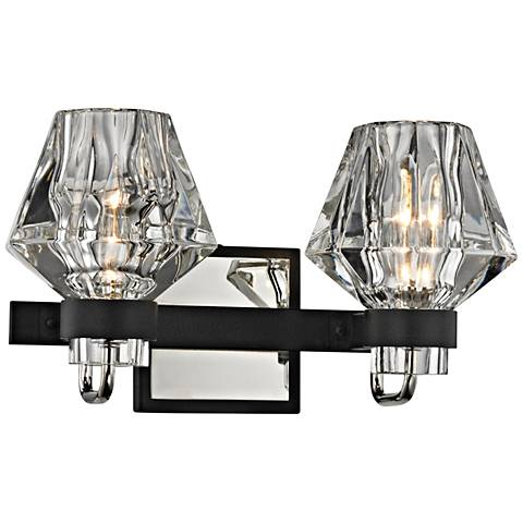 """Faction 7 3/4""""H Iron and Polished Nickel 2-Light Wall Sconce"""