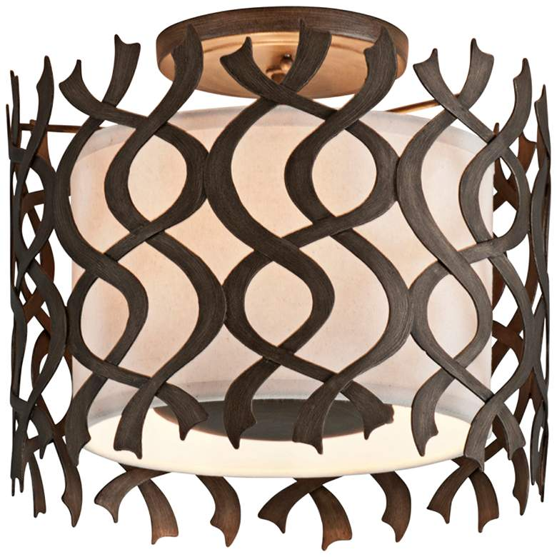 "Mai Tai 14"" Wide Cottage Bronze Ceiling Light"