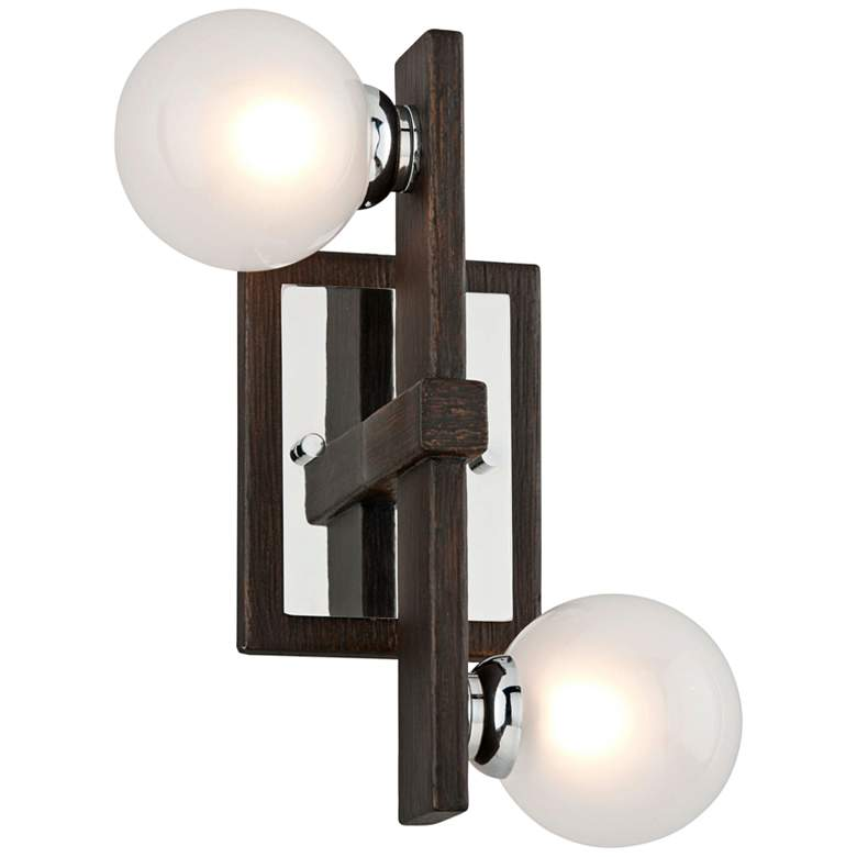 "Network 12""H Bronze and Polished Chrome 2-Light Wall"