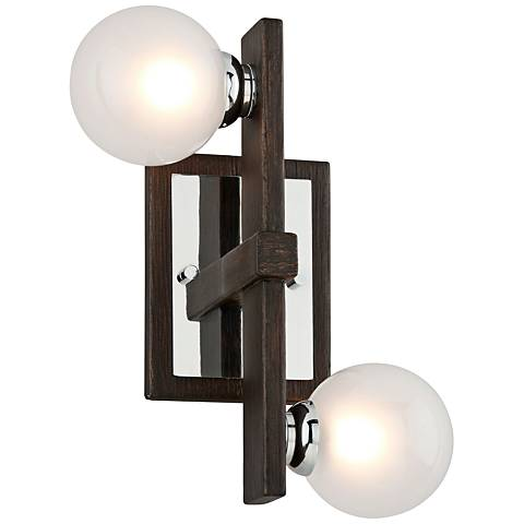 "Network 12""H Bronze and Polished Chrome 2-Light Wall Sconce"