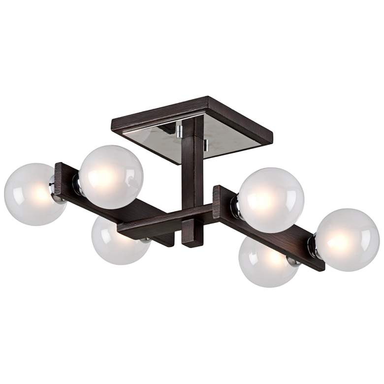 "Network 15"" Wide Bronze and Chrome 6-Light Ceiling Light"