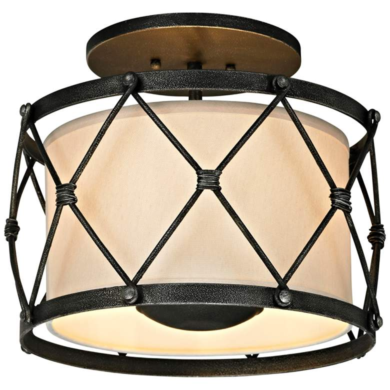 """Palisade 14"""" Wide Aged Pewter Ceiling Light"""