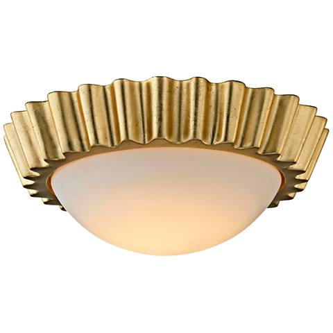 "Reese 13"" Wide Gold Leaf LED Ceiling Light"