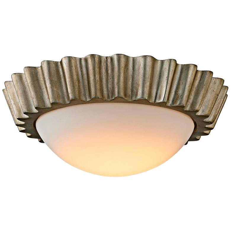 "Reese 13"" Wide Silver Leaf LED Ceiling Light"