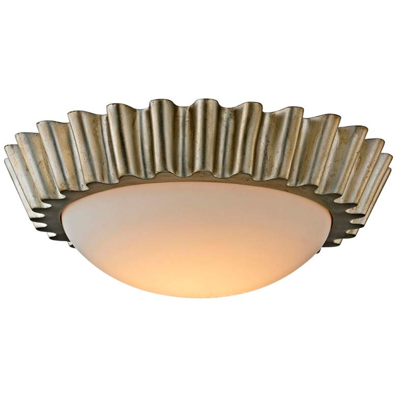 """Reese 15 1/2"""" Wide Silver Leaf LED Ceiling Light"""