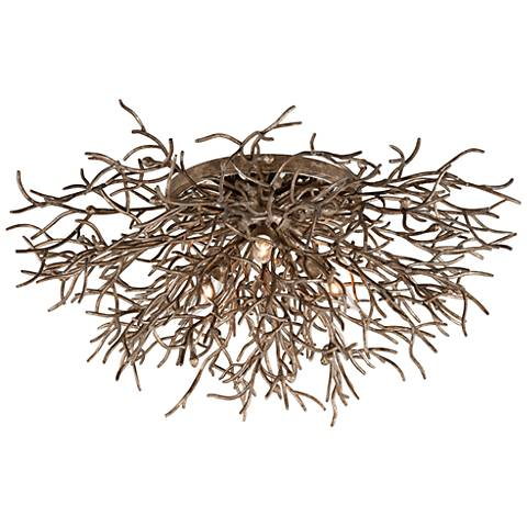 "Sierra 32"" Wide Distressed Bronze 3-Light Ceiling Light"