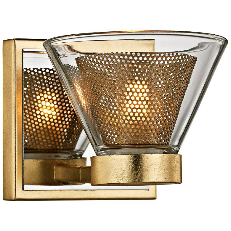 "Wink 4 1/2""H Gold Leaf and Polished Chrome LED Wall Sconce"