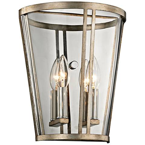 "Trapeze 11 1/4""H Champagne Silver Leaf 2-Light Wall Sconce"