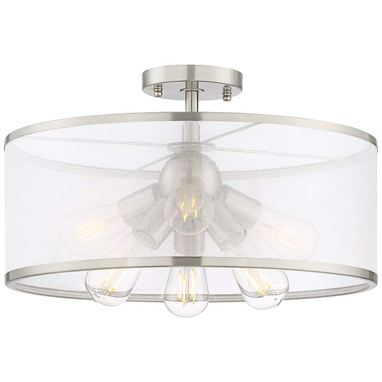 """Taur 18"""" Wide Brushed Nickel 6-Light LED Ceiling Light"""