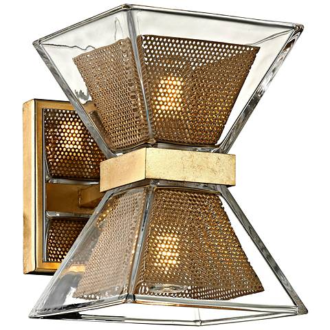 "Expression 7"" High Gold Leaf 2-Light LED Wall Sconce"