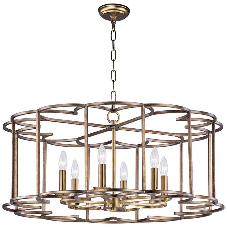 "Maxim Helix 31 1/2"" Wide Bronze Fusion 6-Light Pendant"