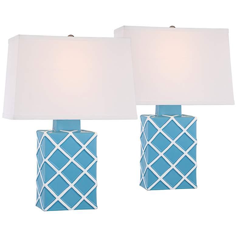 Corden Aqua Blue Ceramic Accent Table Lamp Set of 2