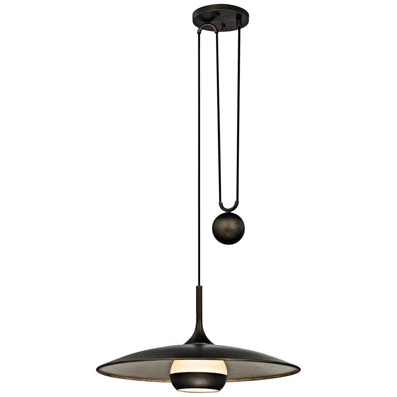 "Alchemy 24"" Wide Bronze and Silver Leaf LED Pendant Light"