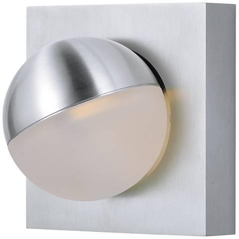 "Alumilux AL 4 1/4""H Spherical Satin Aluminum LED Wall Sconce"