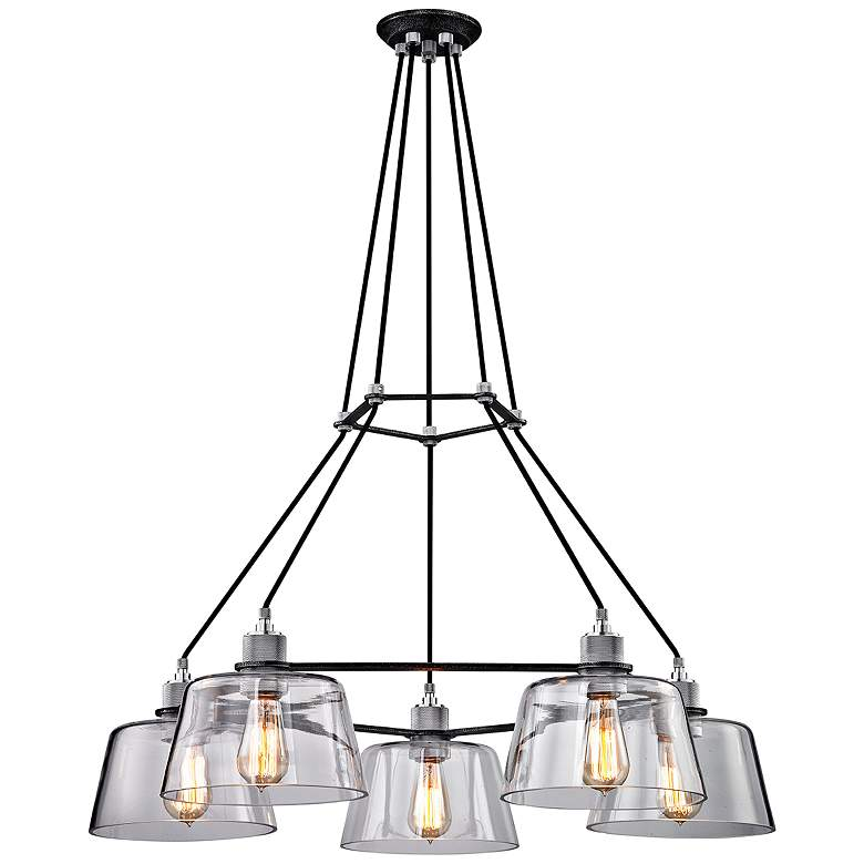 """Audiophile 35 1/2""""W Silver and Aluminum 5-Light Chandelier"""