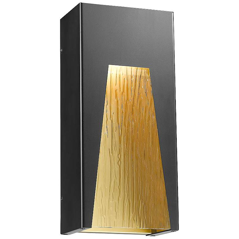 """Millenial 13 1/4"""" High Black and Gold LED Outdoor Wall Light"""