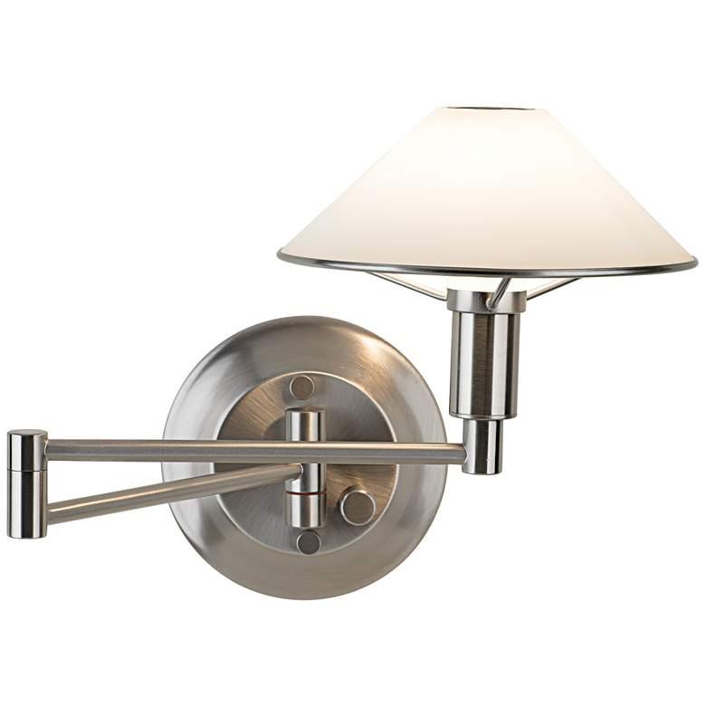 Holtkoetter Nickel-White Glass Halogen Swing Arm Wall Lamp