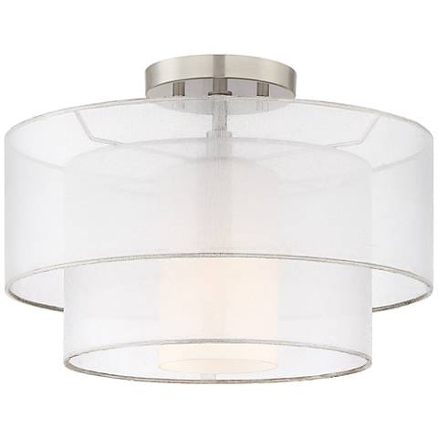 "Possini Euro Duplicate 14"" Wide Satin Nickel Ceiling Light"