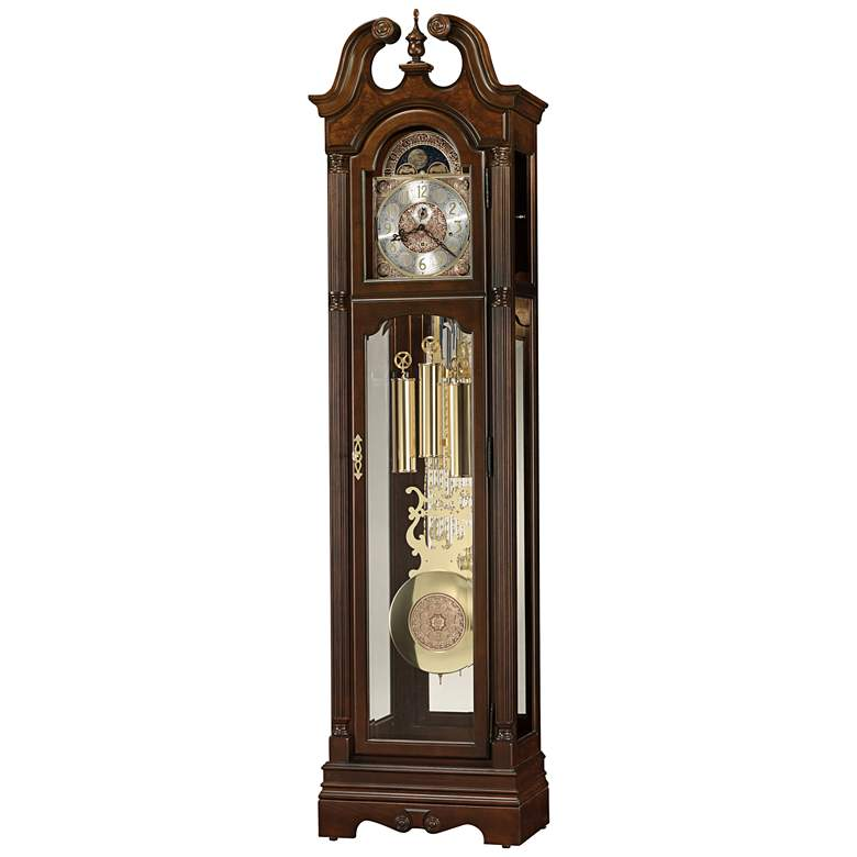 """Welston 84 1/4"""" Cherry Bordeaux Pendulum Floor Clock"""