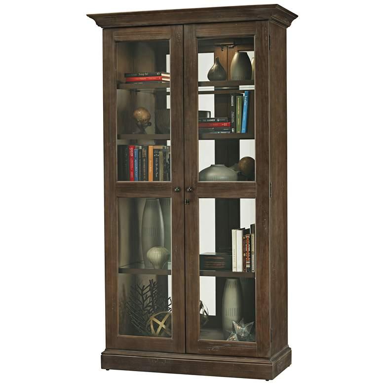 "Lennon 80"" High Aged Umber Howard Miller Display Cabinet"