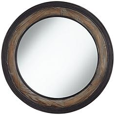 "Jordan Two-Toned Wood 30 3/4"" Round Wall Mirror"