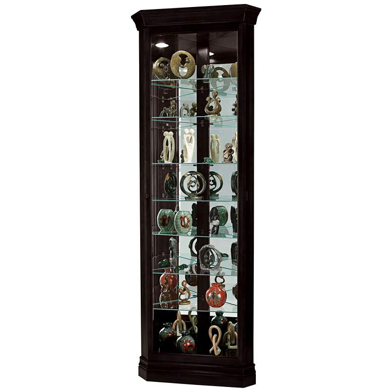 "Howard Miller 80"" Duane Black Satin Corner Curio Cabinet"