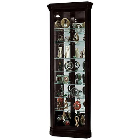 Howard Miller Duane Black Satin 1-Door Corner Curio Cabinet