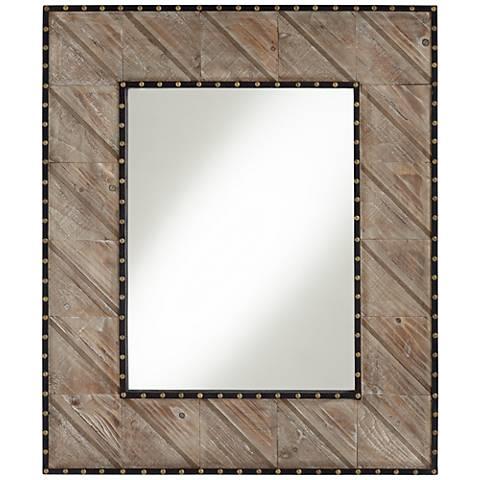"""Carina Distressed Wood 32 1/4"""" x 38 1/4"""" Wall Mirror"""